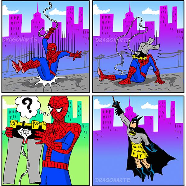 superheroes being aholes, spiderman v batman