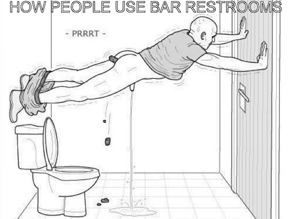 reasons it sucks not to be a big drinker, sober at the bar funny, man pooping and peeing on bathroom floor