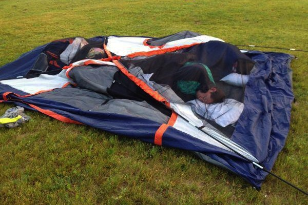 people being extremely lazy, funny lazy people, sleeping broken tent