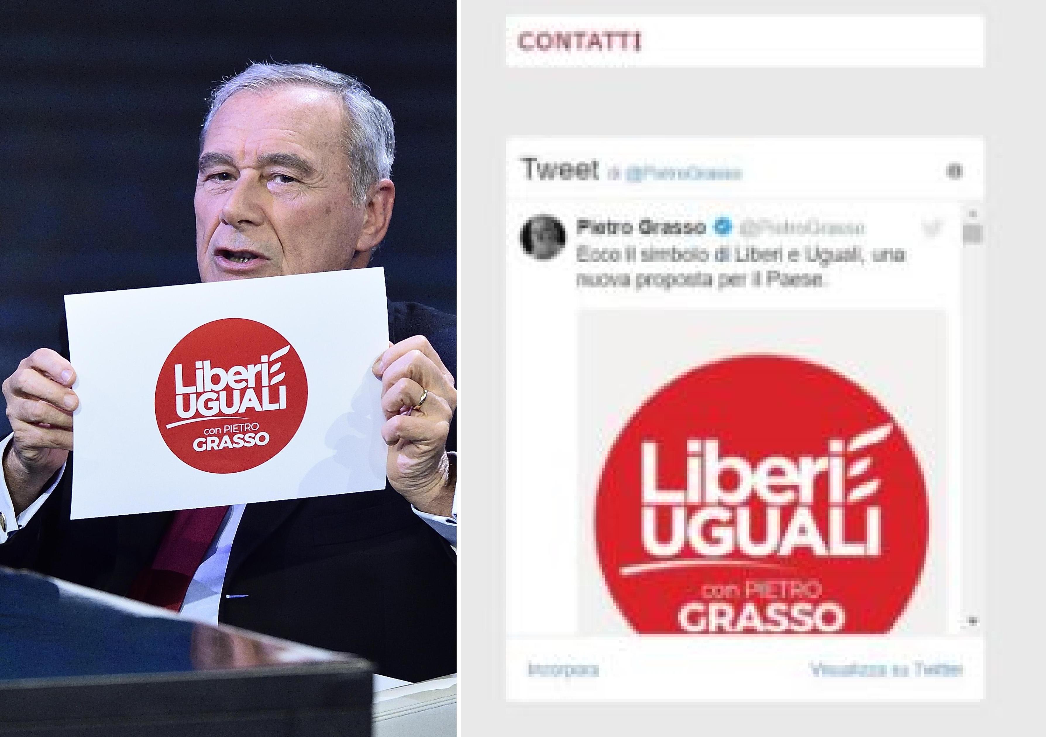 f2c2d210d44b ... Pietro Grasso  un tweet con il simbolo di Liberi e Uguali sul sito  istituzionale del Senato. Ecco