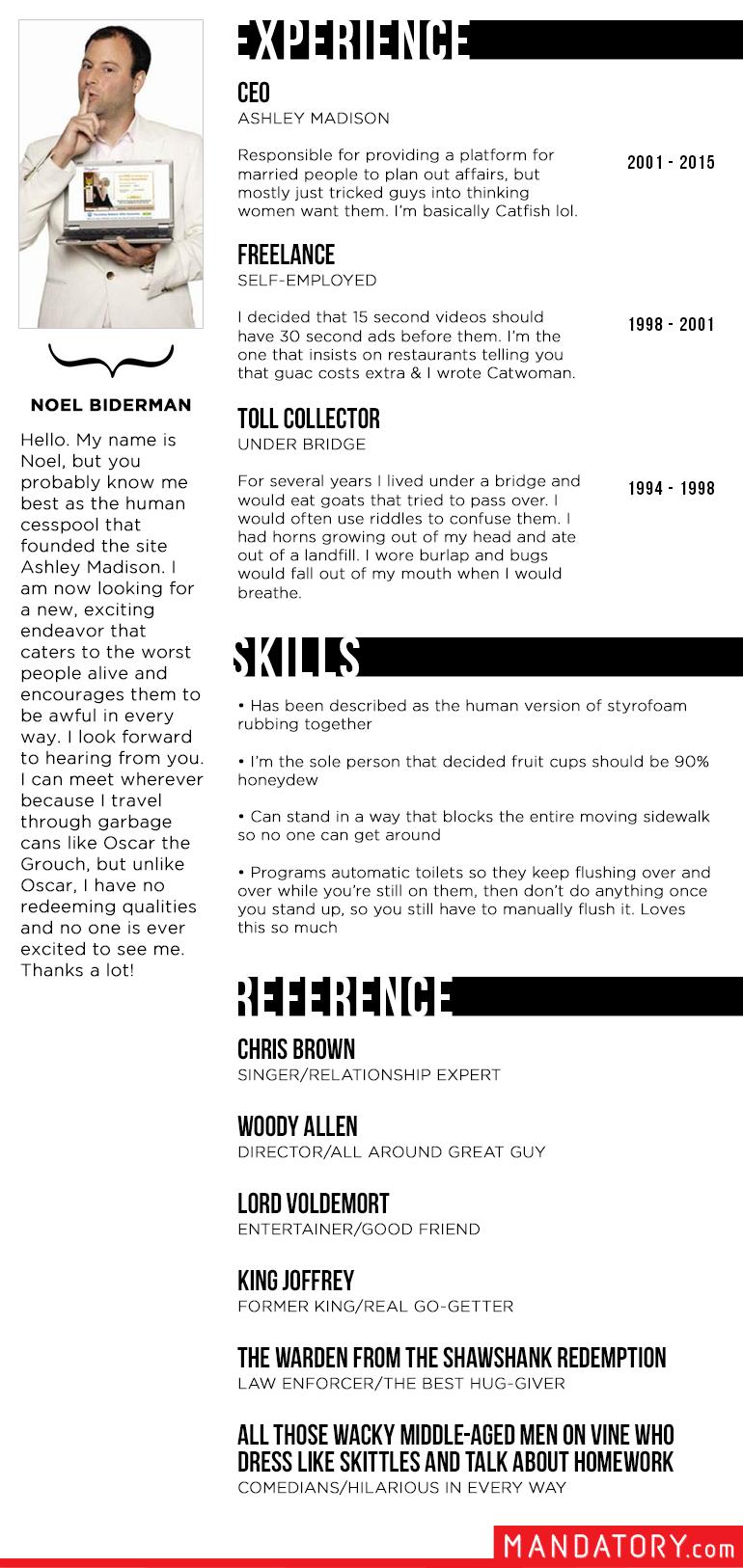 ashley madison ceo resume, funny ashley madison resume, updated ashley madison former ceo resume