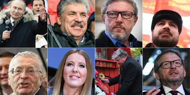 Les 8 candidats de l'élection présidentielle en Russie.