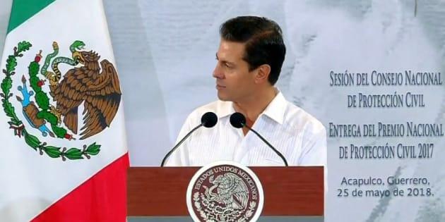 El presidente Enrique Peña Nieto al encabezar la Sesión del Consejo Nacional de Protección Civil en Acapulco, Guerrero.