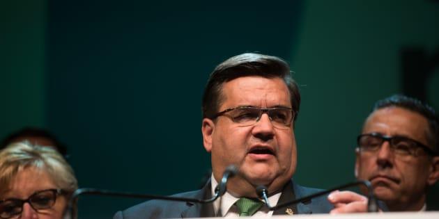 Denis Coderre lors de son discours après sa défaite électorale de novembre 2017.