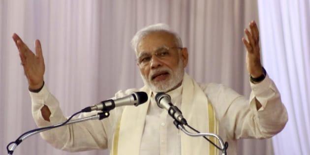 Prime Minister Narendra Modi addresses during the BJP public meeting, on September 24, 2016 in Kozhikode, India.