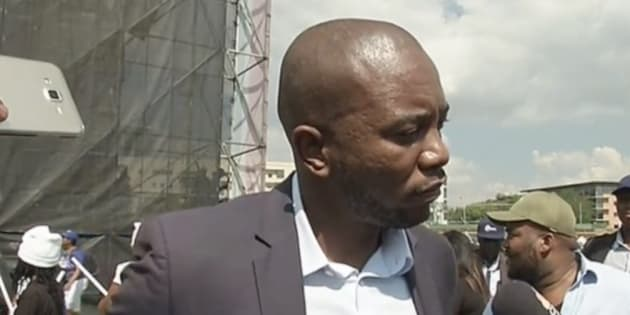 Musi Maimane addressing the media at the Freedom Movement Rally, 27 April 2017
