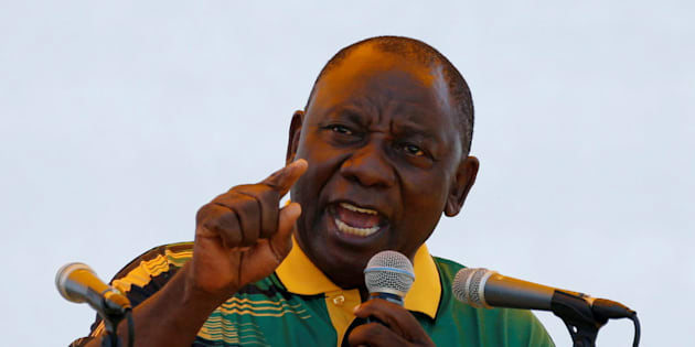 President of the ANC Cyril Ramaphosa addresses his supporters during the ANC's 106th anniversary celebrations, in East London, South Africa, January 13, 2018.