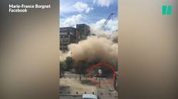 L'impressionnante destruction d'un immeuble, à quelques mètres seulement de la