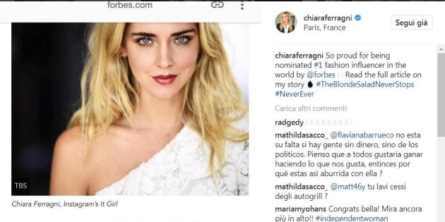 Chiara Ferragni su Forbes: è lei l'influencer più importante al mondo
