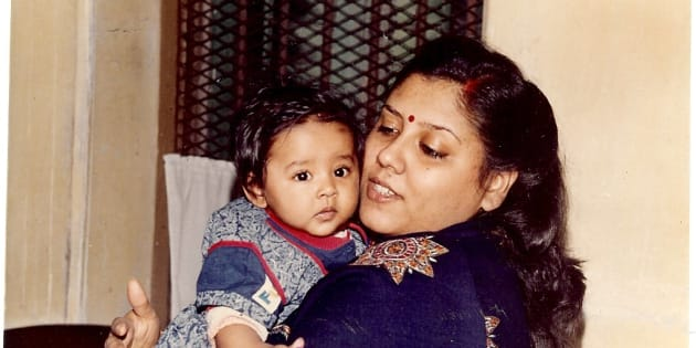 My mother with me, circa 1989.