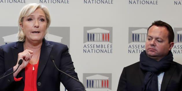 Marine Le Pen et Bruno Bilde à l'Assemblée nationale le 3 octobre.