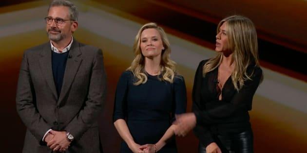 Steve Carell, Reese Witherspoon et Jennifer Aniston tiennent la vedette dans «The Morning Show», qui sera disponible uniquement sur Apple TV+.