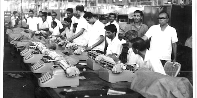 Test typists working on the Godrej M-12 typewriter in the 1960s.