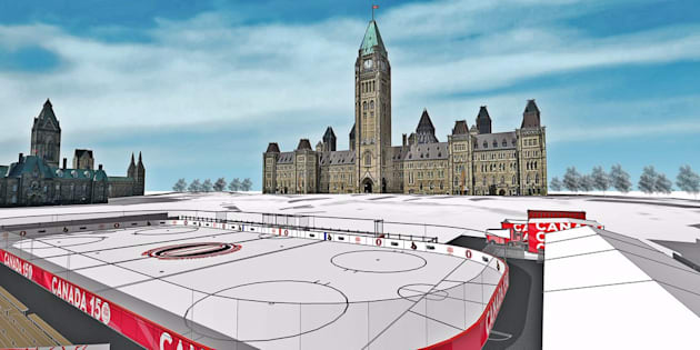 Rendering of what the completed rink will look like on Parliament Hill. It was originally planned to be open to the public for three weeks from Dec. 31 to Jan. 1.