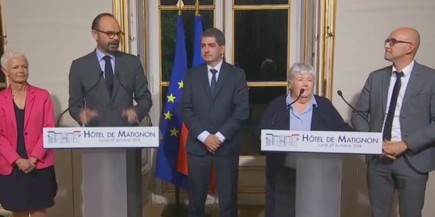 """Edouard Philippe et tous les acteurs de l'accord sur la """"collectivité européenne d'Alsace"""" à Matignon lundi 29 octobre."""