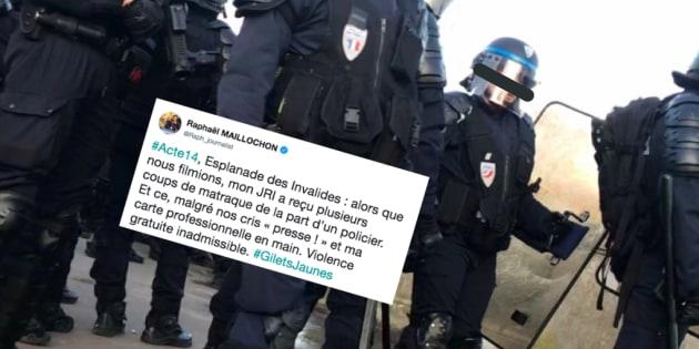 """Le journaliste de BFMTV Raphaël Maillochon a dénoncé sur Twitter les """"coups de matraque"""" reçus par son collègue lors de l'acte XIV des gilets jaunes."""