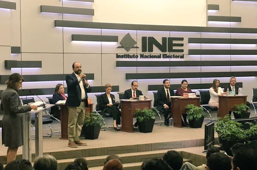 Los candidatos al Senado por Ciudad de México, en la sede del INE, el 31 de mayo de 2018.