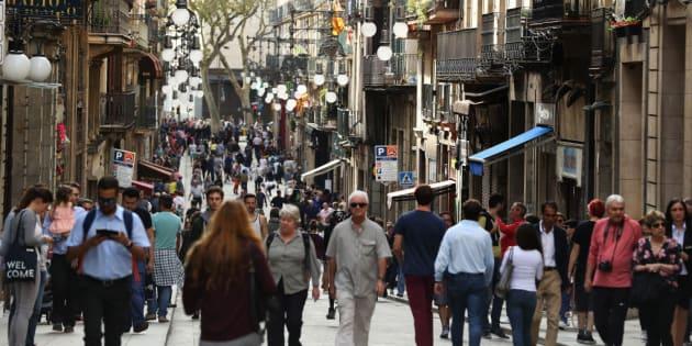 Una calle del barrio Gótico de Barcelona.