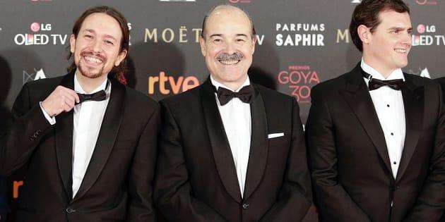 Pablo Iglesias, Antonio Resines y Albert Rivera en la Gala de los Goya 2016.