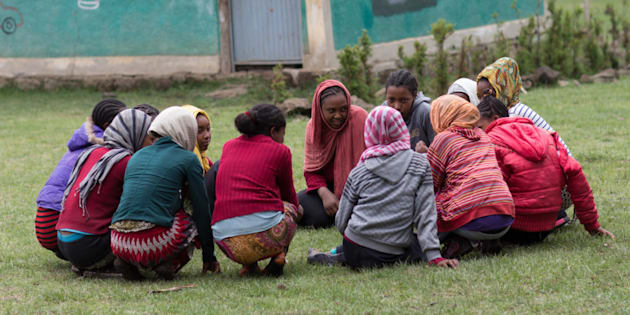 A girls' club at the Zengoo primary school in Ethiopia discusses menstrual hygiene. The club was launched in October 2014 to tackle girls' dropout  due to menstruation.