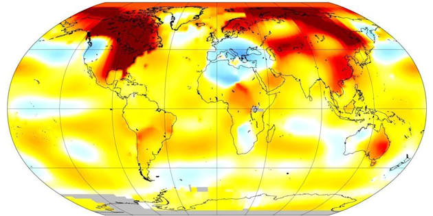 January 2017 climate change map from NASA