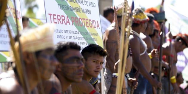 Ato pela demarcação de terras indígenas em abril deste ano, em Brasília.