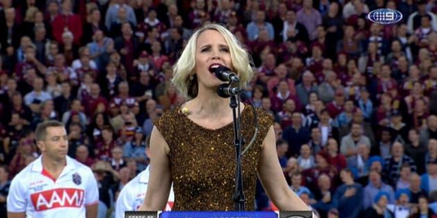 Karen Jacobsen, the voice of Siri, sings the National Anthem