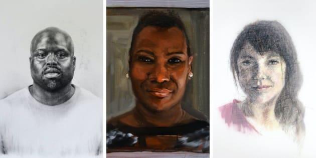 Alguns dos retratos que fazem parte da série Face New York, que utiliza materiais diversos.