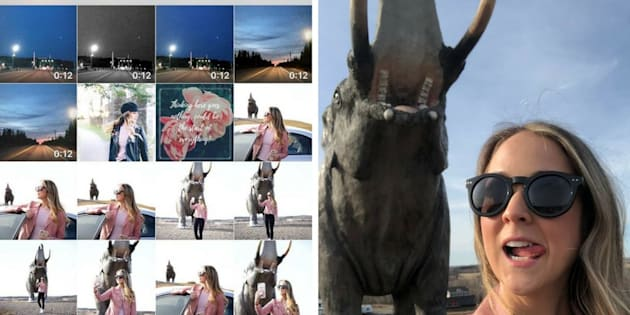 À gauche: la galerie photo du smartphone de Kayla Short. En comptant celles prises avec son Reflex, l'Instagrameuse a dû choisir parmi une soixantaine de clichés. À droite: une photo non retenue.