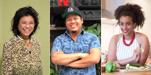 From left to right: caterToronto founder Vanessa Ling Yu, Tuk Tuk Canteen co-owner Mike Tan, Black Foodie founder Eden Hagos.