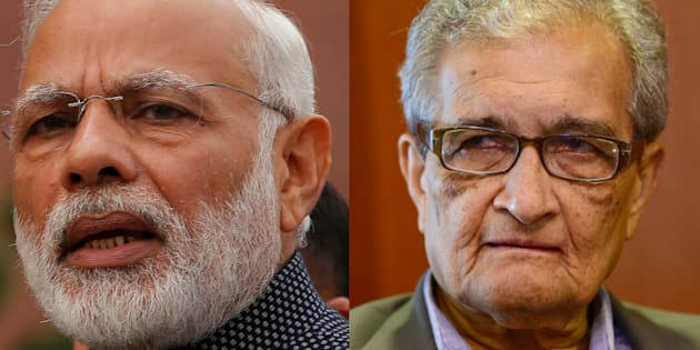 File photos of Narendra Modi and Amartya Sen.
