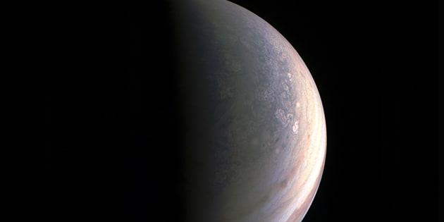 Stunning view of Jupiter's north pole taken by NASA's spacecraft Juno on 27 August 2016.