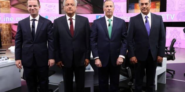 Ricardo Anaya, Andres Manuel Lopez Obrador, Jose Antonio Meade y  Jaime Rodriguez Calderon, en el último debate.