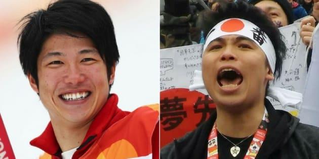 成田緑夢さん(左)、緑夢さんに声援を送る童夢さん(右)