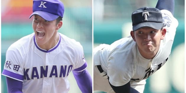 金足農業の吉田輝星(左)、大阪桐蔭の柿木蓮投手(右)