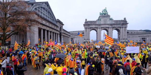 Independentistas catalanes se manifestaron el pasado 7 de diciembre en Bruselas.