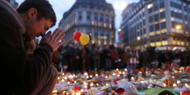 La plaza de la Bolsa, en Bruselas, transformada en memorial, el 23 de marzo de 2016.