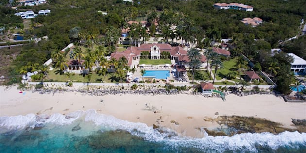 "An aerial view of the ""Chateau des Palmiers,"" a luxury retreat owned by Donald Trump on the island of Saint Martin in the Caribbean. The island was hit by Hurricane Irma on Wednesday."