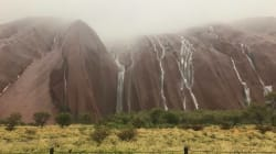 Uluru Became A Waterfall After Huge Rains, Flooding In The