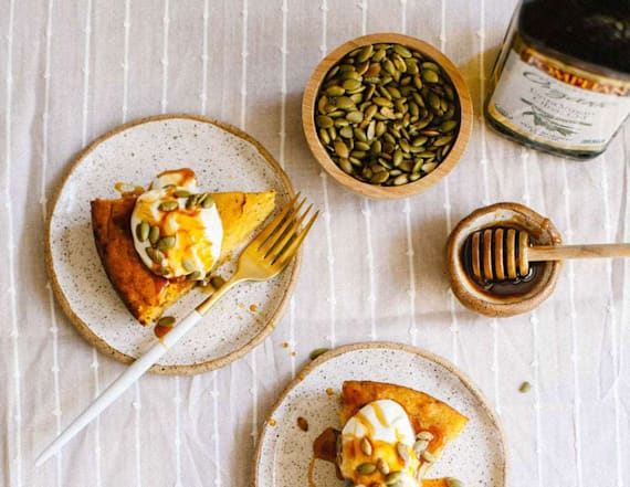 Fall in love with pumpkin chia olive oil cake