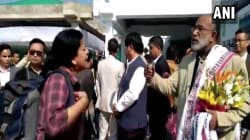 WATCH: Distraught Woman Trying To Reach A Funeral Confronts Union Minister At Airport For Flight