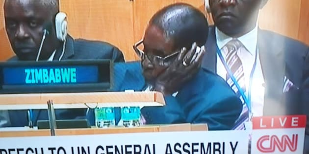 Zimbabwean President Robert Mugabe seen sleeping during U.S President Donald Trump's U.N. address.