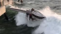 Les images du spectaculaire naufrage d'un voilier en