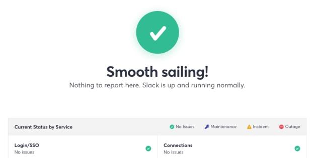 障害から復旧したことを伝えるSlackの公式サイト