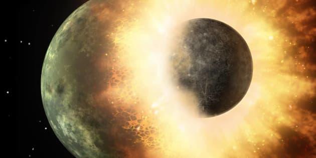 La Lune se serait formée suite à l'impact d'une proto-planète avec la Terre.