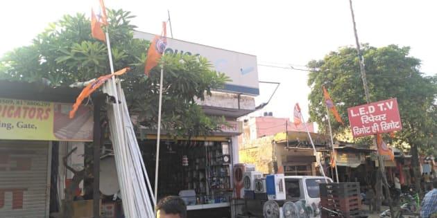 Saffron flags hoisted at the Sheetla Mata Colony.