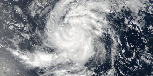 Satellite image of Tropical Storm Irma pictured here in the Eastern Atlantic Ocean on Aug. 30, 2017.