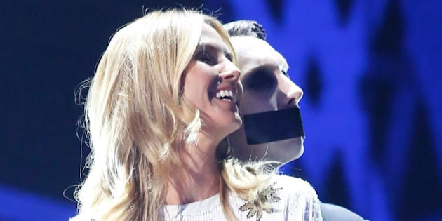AMERICA'S GOT TALENT -- 'Live Show 1'  Episode: 1112 -- Pictured: (l-r) Heidi Klum, Tape Face -- (Photo by: Trae Patton/NBC/NBCU Photo Bank via Getty Images)