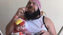 Su bebé de 9 meses lo convierte en el papá más divertido de
