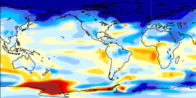Yale University scientist Wei Liu has calculated that the Atlantic Meridional Overturning Circulation could collapse within 300 years. The graphic illustrates predicted responses on surface temperature and precipitation.